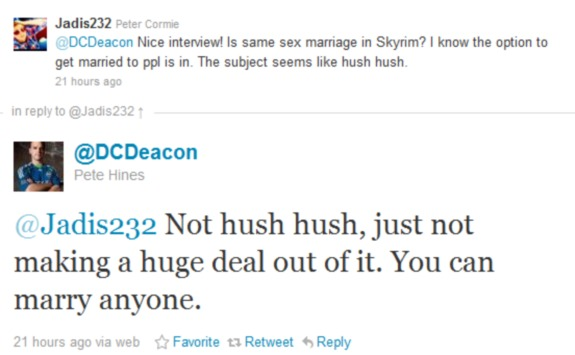 Elder Scrolls same sex marriage pete hines twitter Same Sex Marriage Confirmed For The Elder Scrolls V: Skyrim
