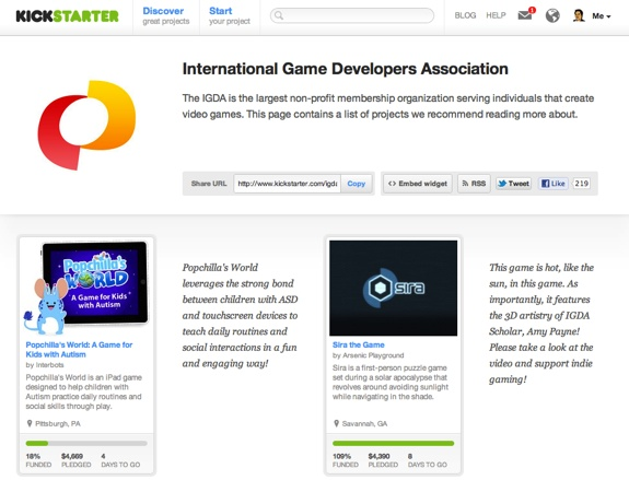 IGDA Kickstarter page IGDA Makes Finding Kickstarter Gaming Pitches Easy
